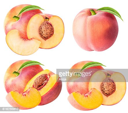 Set from peaches isolated on white background : Foto de stock