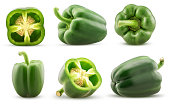 Set green bell pepper cut in half, whole isolated on white background. Clipping Path.