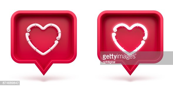 Set Like heart icon on a red pin isolated on white background. Neon Like symbol. 3d render : Stock Photo