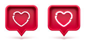 Set Like heart icon on a red pin isolated on white background. Neon Like symbol. 3d render