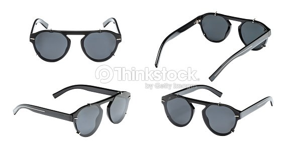 60cfa75e3913 Set modern black sunglasses in round frame isolated on white background.  Collection summer glasses with