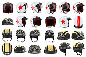 Collection motorcycle helmets protectors for sports. 3D graphic