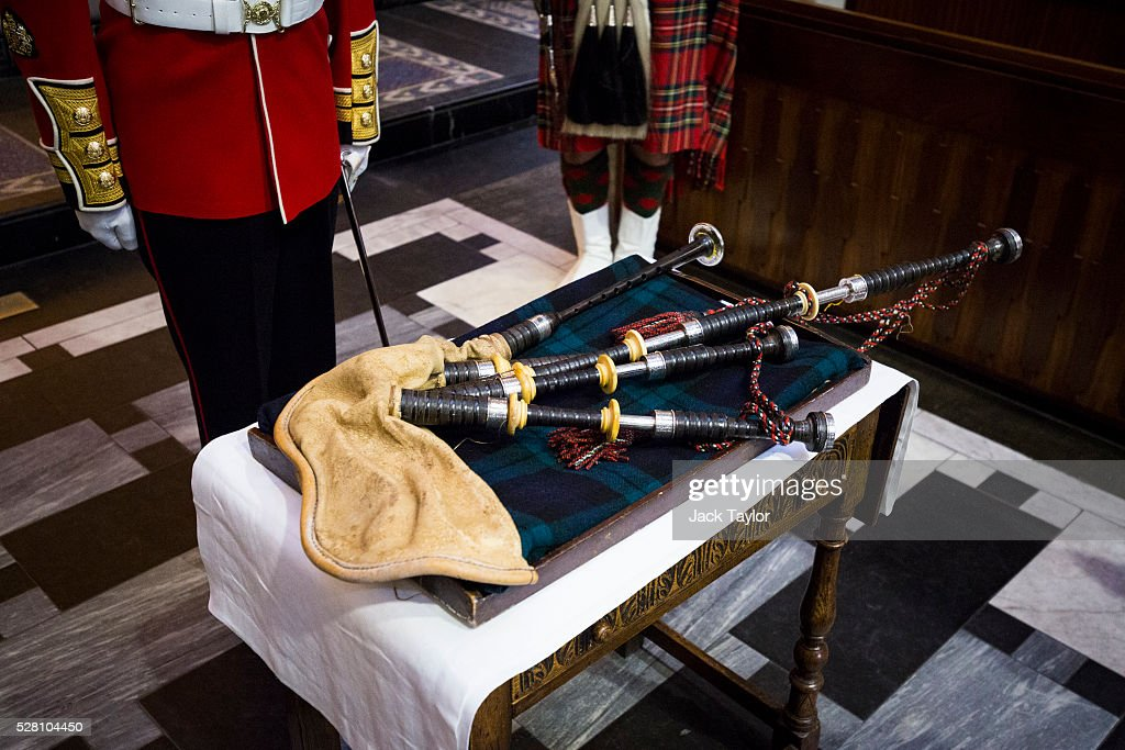 A set of 100-year-old bagpipes are laid at The Guards Chapel, Wellington Barracks on May 4, 2016 in London, England. The bagpipes belonged to a Pipe Major of the Regiment of the Argyll and Sutherland Highlanders who died after becoming ill in the trenches at the Battle of the Somme. Later today they will be taken to Horse Guards Parade for a performance to launch the Household Division's Beating Retreat concerts, which feature military drills, music and fireworks, taking place on the 8th and 9th of June.