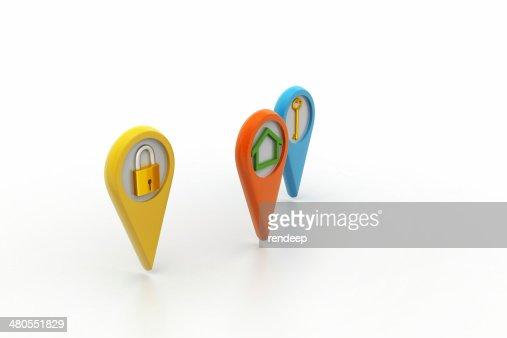 Conjunto de 3D de três pontos-casa, chave, Chave Inglesa : Foto de stock