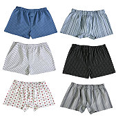 Set of 6 pairs of men's boxer shorts isolated on white