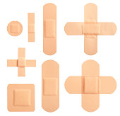 Set of different adhesive plasters
