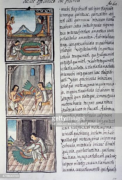 Set of adornments and emperors' feather headdress page from the Florentine Codex bilingual version in Spanish and Nahuatl General History of the...