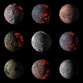 Set of Alien hot planets on black background 3d rendering.