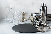 Set of bar tools for cocktails, accessories and utensils for bartender for making alcohol beverage, shot and long drink