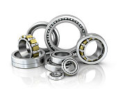 A set of bearings on a white background. 3d illustration