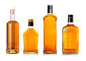 Set of Beautiful Whisky Bottles against well lit background