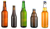 set of beer bottles on a white background