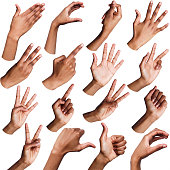African-american woman hands showing symbols and gestures, like, offering, ok, writing, isolated on white background. Set of female hands.