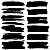 Set of black flat brush strokes isolated on the white background - raster illustration