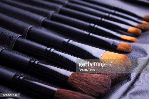 Preto conjunto de make-up pincéis de Linha : Foto de stock