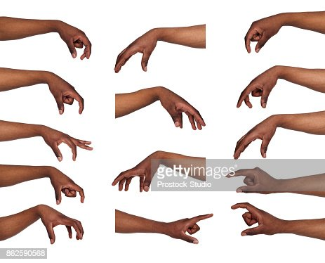 Set of black man's hands. Male hand picking up something : Stock Photo
