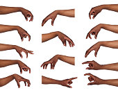 Taking, measuring. Set of black male hands grab some items. Isolated at white background