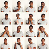 Young african-american man emotional faces, expressions set: happy, thoughtful, frightened, angry, pensive, disappointed man over white studio background