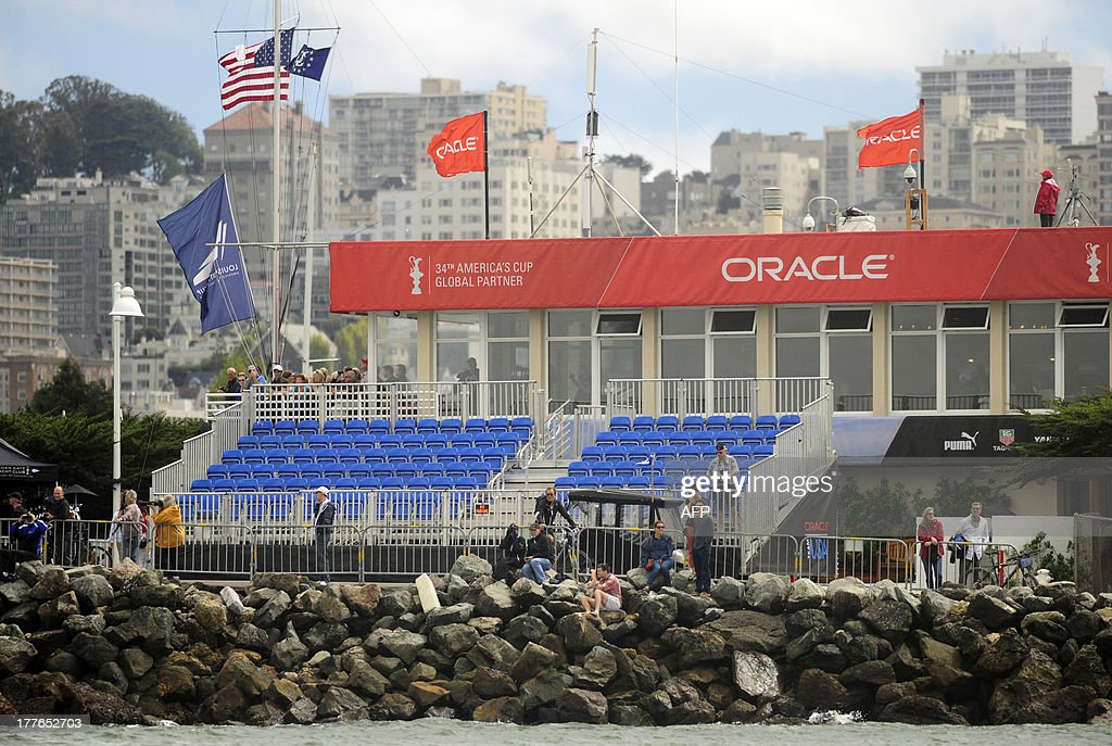 A set of bleachers are seen nearly empty during the final race of the Louis Vuitton Cup series in San Francisco, California on August 25, 2013. AFP PHOTO / Josh Edelson