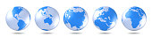Set of blue globes. Five continents in different ways. America, Asia, Australia, Europe, Africa. 3D rendering.