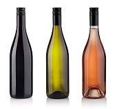 Set of white, rose, and red wine bottles. isolated on white background