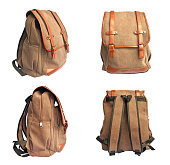 Set of brown bag on white background, backpack for journey