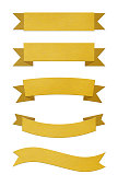 Set of five different brushed gold metal ribbon banners isolated on white background