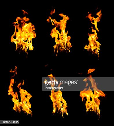 Set of burning hot fire flames isolated on black