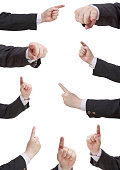 set of businessman pressing forefinger - hand gesture isolated on white background