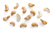 Set of isolated cashew on the white background