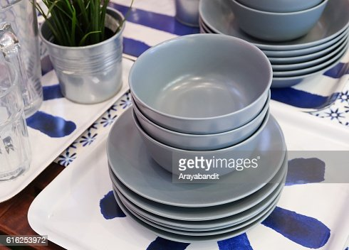 Set of Ceramic Dishes, Bowls and Plates : Stock Photo
