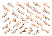 Child hands showing symbols and gestures, like, offering isolated on white background. Set of male hands.