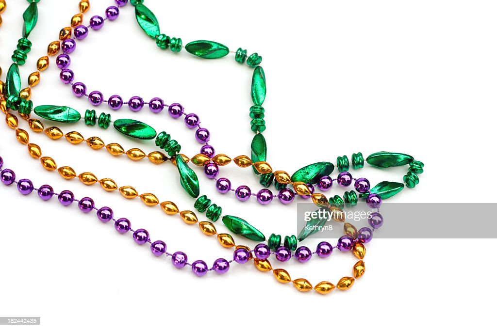 Set of colorful beads over a white background