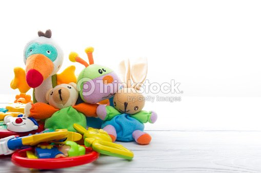 Set of colorful Kids toys frame. Copy space for text : Stock Photo