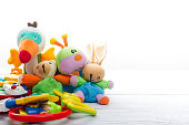 Baby toys frame. Copy space for text