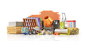 Set of construction materials and tools isolated on a white background. 3d illustration