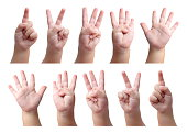 Set of counting hand sign of kid isolated on white