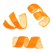 Set of curl mandarin peel isolated on a white background. Full depth of field