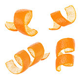 Set of curl orange peel isolated on a white background. Full depth of field