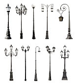 Set of decorative lampposts over white background