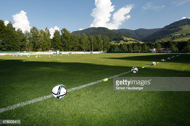 A set of different Balls from of the U 21 German National team before their training Session on June 5 2015 in Leogang Austria