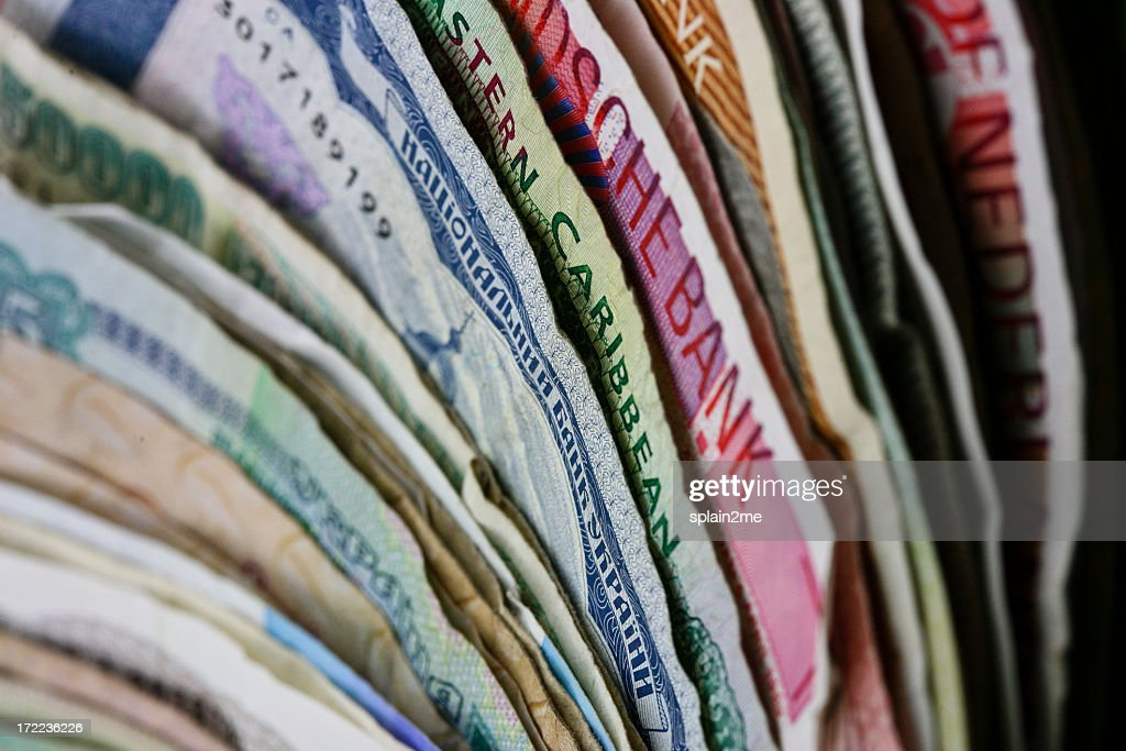 Set of different banknotes standing