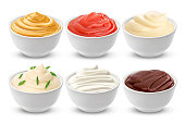 Set of different sauces isolated on white, with clipping path
