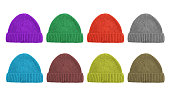 set of eight color woolen caps isolated on white background