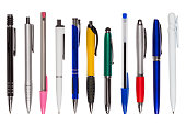 Set of Eleven Different Pens (clipping path)