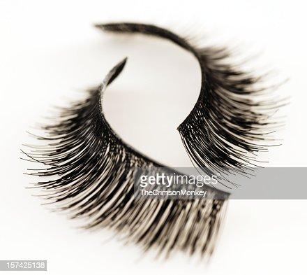 Set of false eyelashes isolated on white background