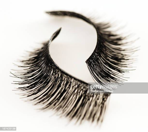 Set of false eyelashes isolated on white background