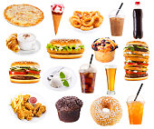 set of fast food products isolated on white background