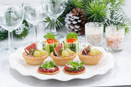 set of festive christmas mini appetizers on table stock. Black Bedroom Furniture Sets. Home Design Ideas