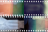 Set of colorful grungy film textures with lots of grain, dust, scratches and light leaks